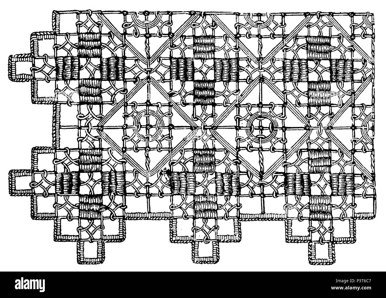 Pattern of darning stitch and festoon stitch, anonym  1879 - Stock Image