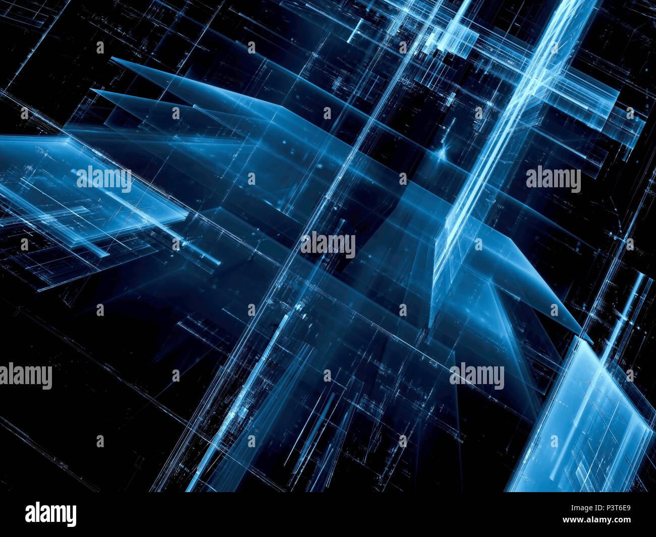 Dark blue technology background - glass city  Abstract computer