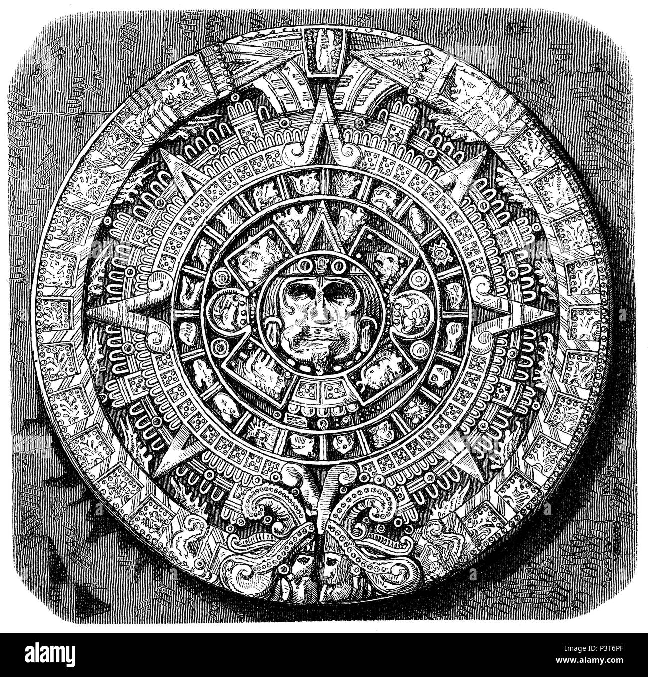 Great calendar stone of the ancient Mexicans. After a photograph by Paul de Rossin,   1874 - Stock Image