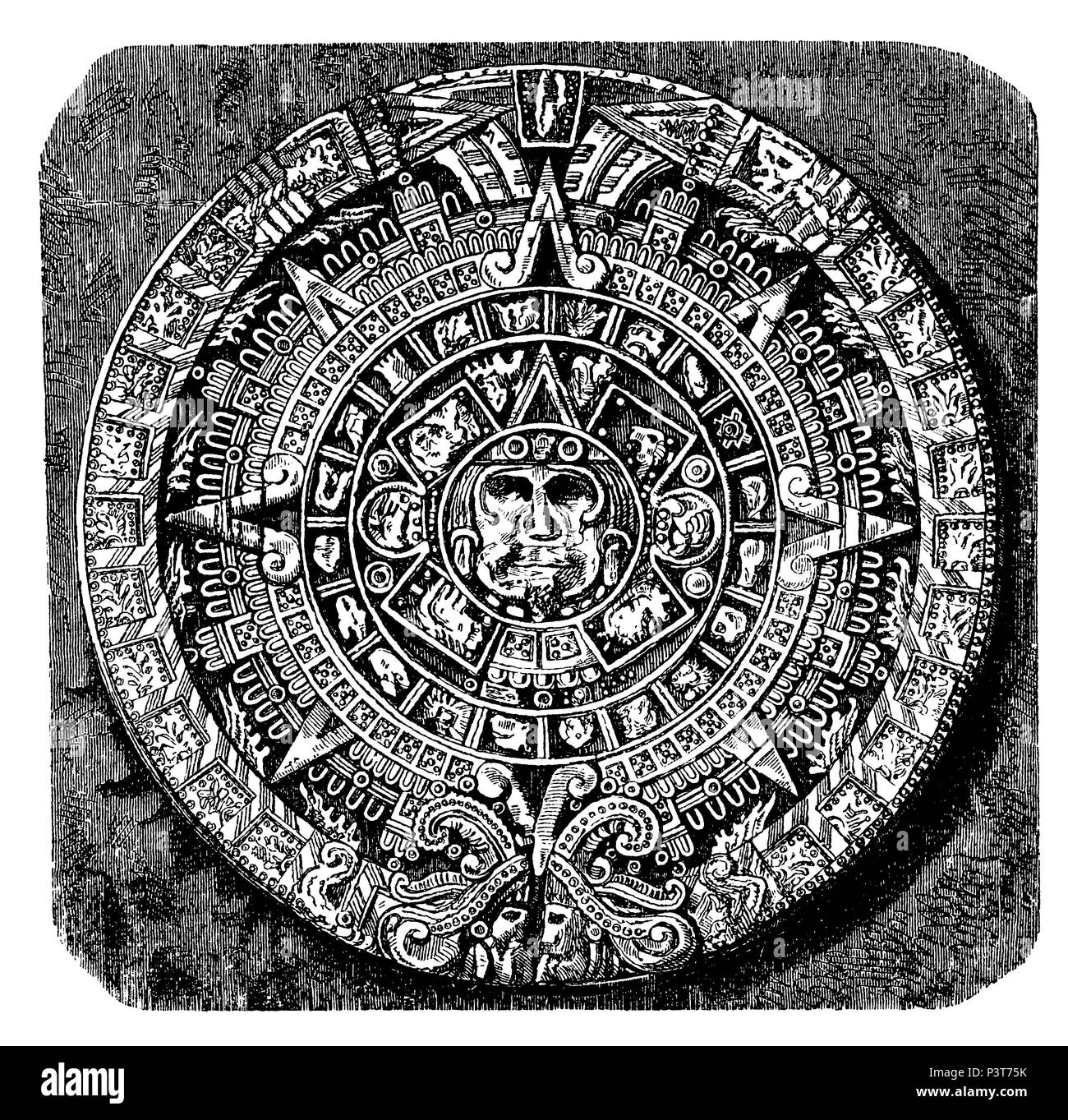 Great calendar stone, Nach einer Fotografie von Paul de Rosti - Stock Image