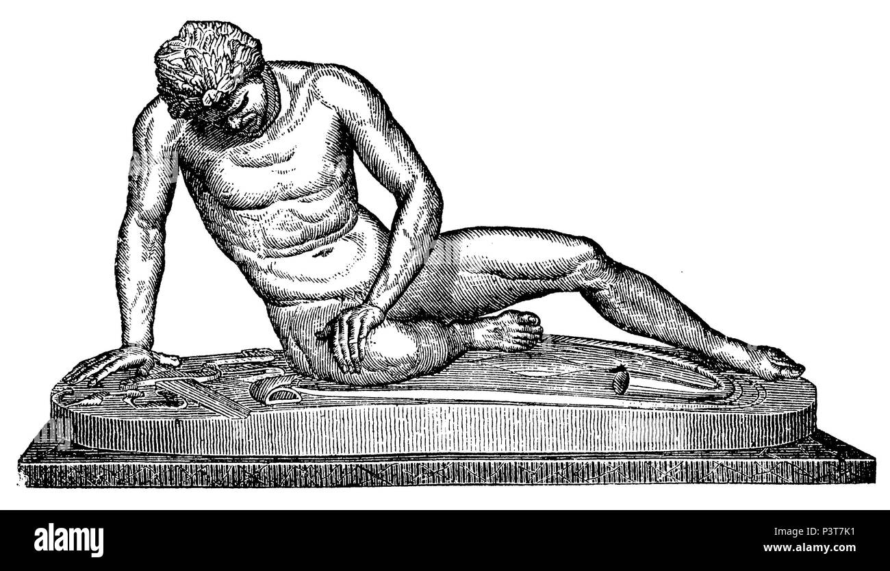 Dying fencer, anonym  1887 - Stock Image
