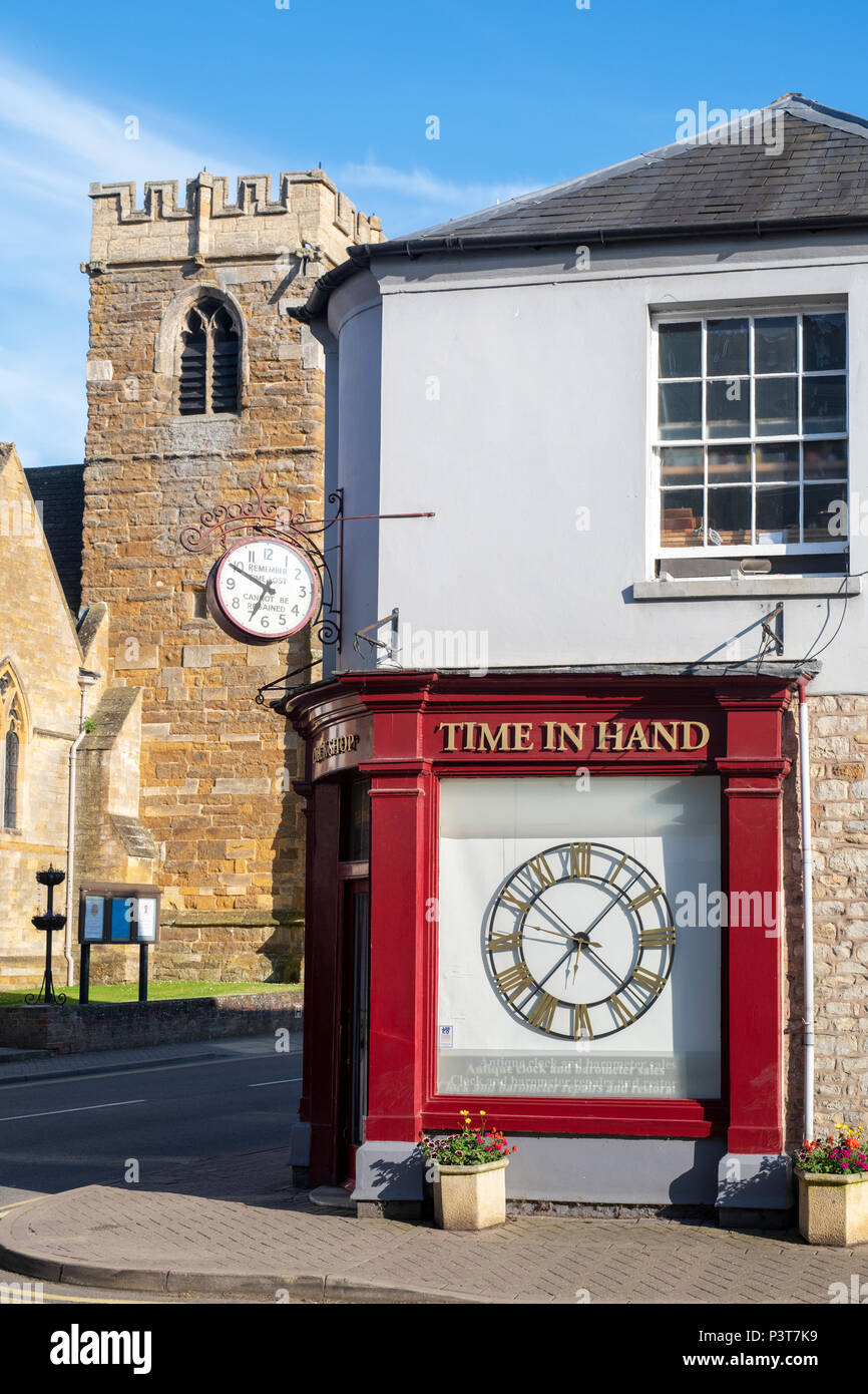 Time in hand. Antique clock repair and restoration shop in Shipston on stour, Warwickshire, England - Stock Image