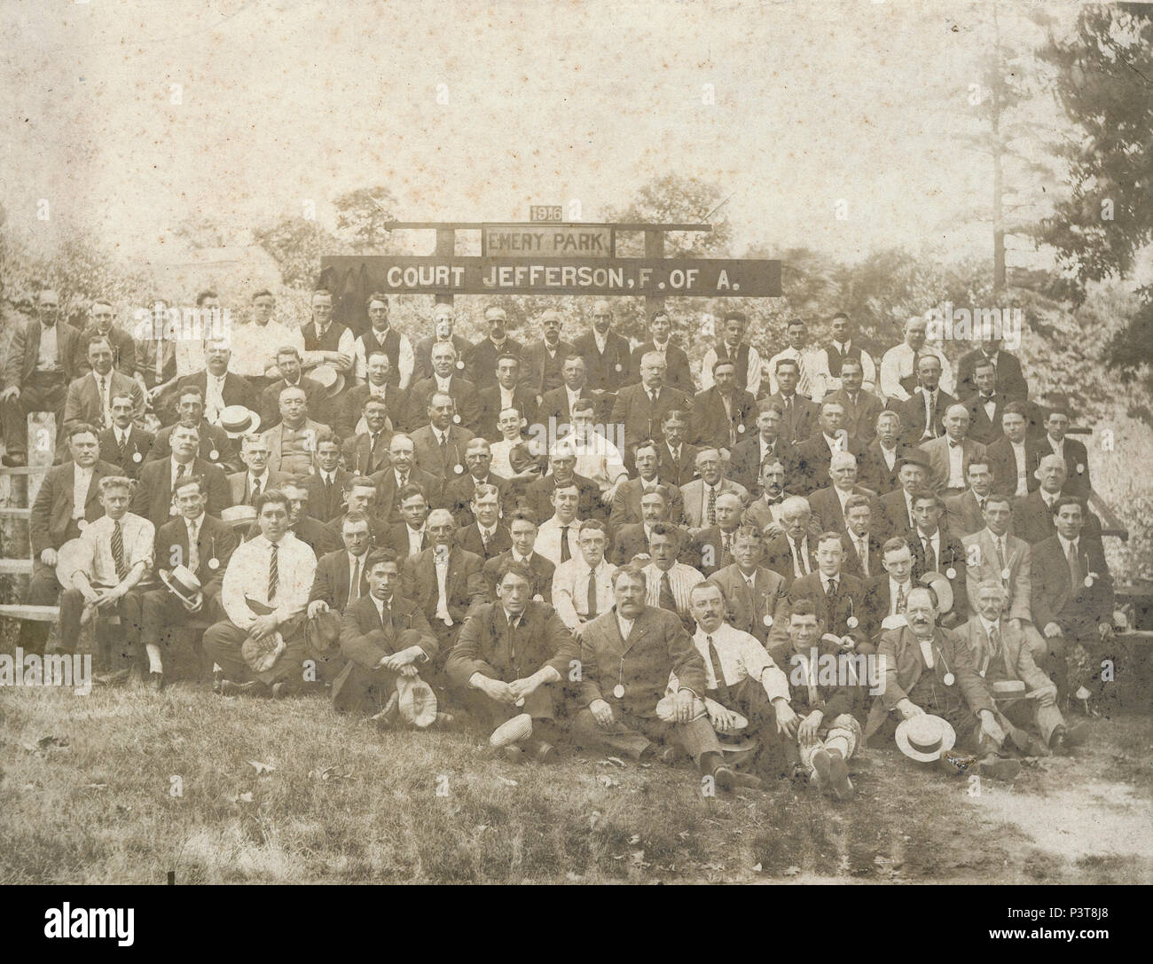 Antique 1916 photograph, Court Jefferson of the Ancient Order of Foresters of America group photograph at Emery Park, Providence, Rhode Island. SOURCE: ORIGINAL PHOTOGRAPH - Stock Image