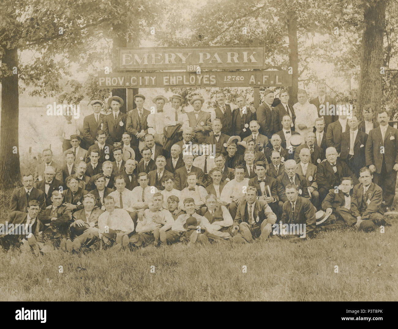 Antique 1913 photograph, City Employees 12760 AFL group photograph at Emery Park, Providence, Rhode Island. SOURCE: ORIGINAL PHOTOGRAPH - Stock Image