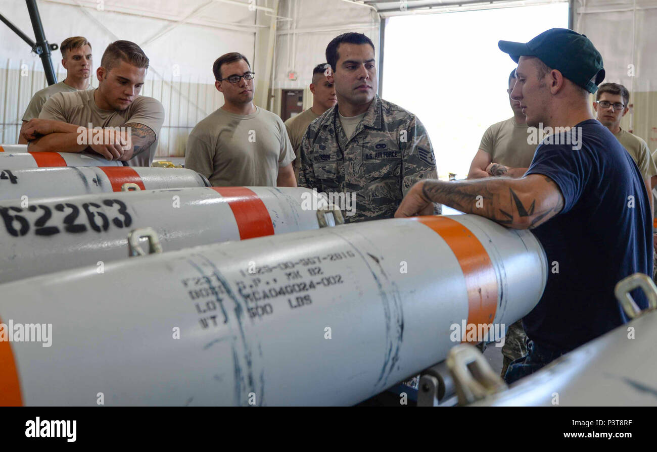 Airmen assigned to the 28th Munitions Squadron receive