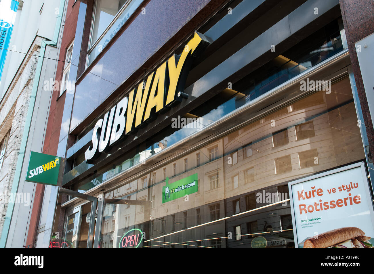 Prague, Czech Republic, 16. June 2018, Subway is the home of the American international franchise network of fast food restaurants Stock Photo
