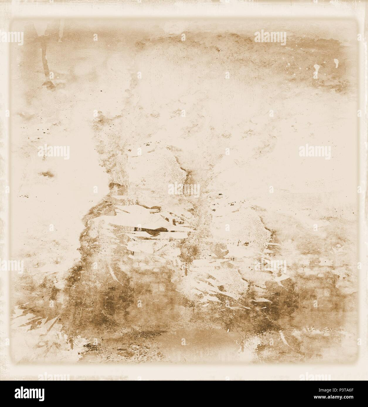 Vintage wall faded surface in sepia tones. For texture or background. - Stock Image