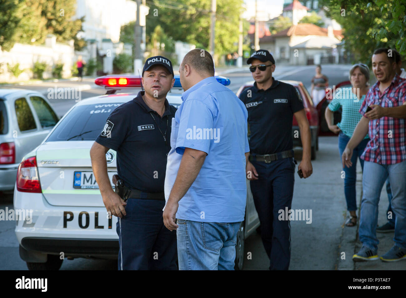 Republic of Moldova, Chisinau - police action for a disagreement among citizens - Stock Image