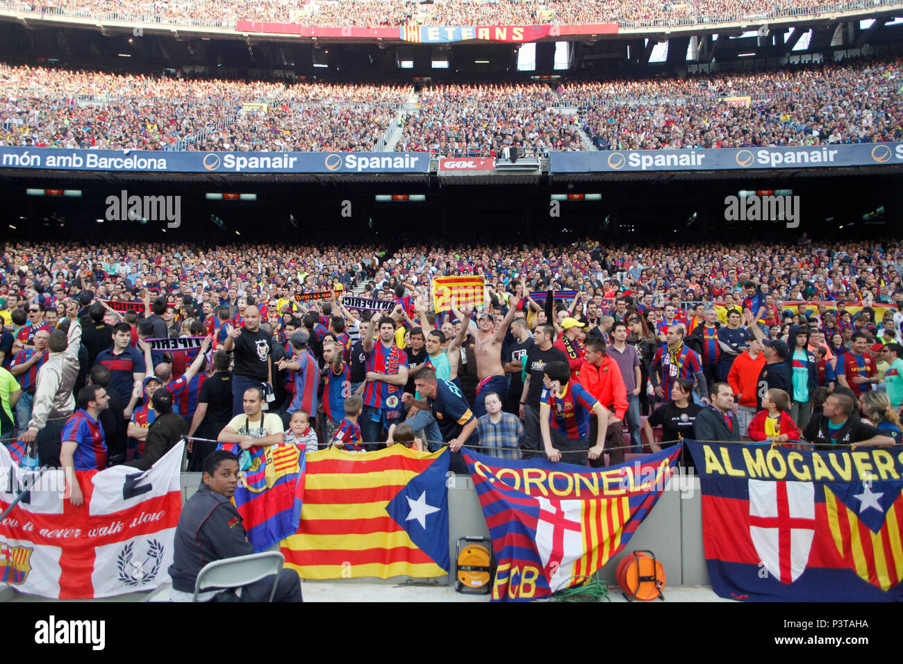 barcelona catalonia spain football fans in the camp nou stadium in barcelona stock photo alamy https www alamy com barcelona catalonia spain football fans in the camp nou stadium in barcelona image208903558 html