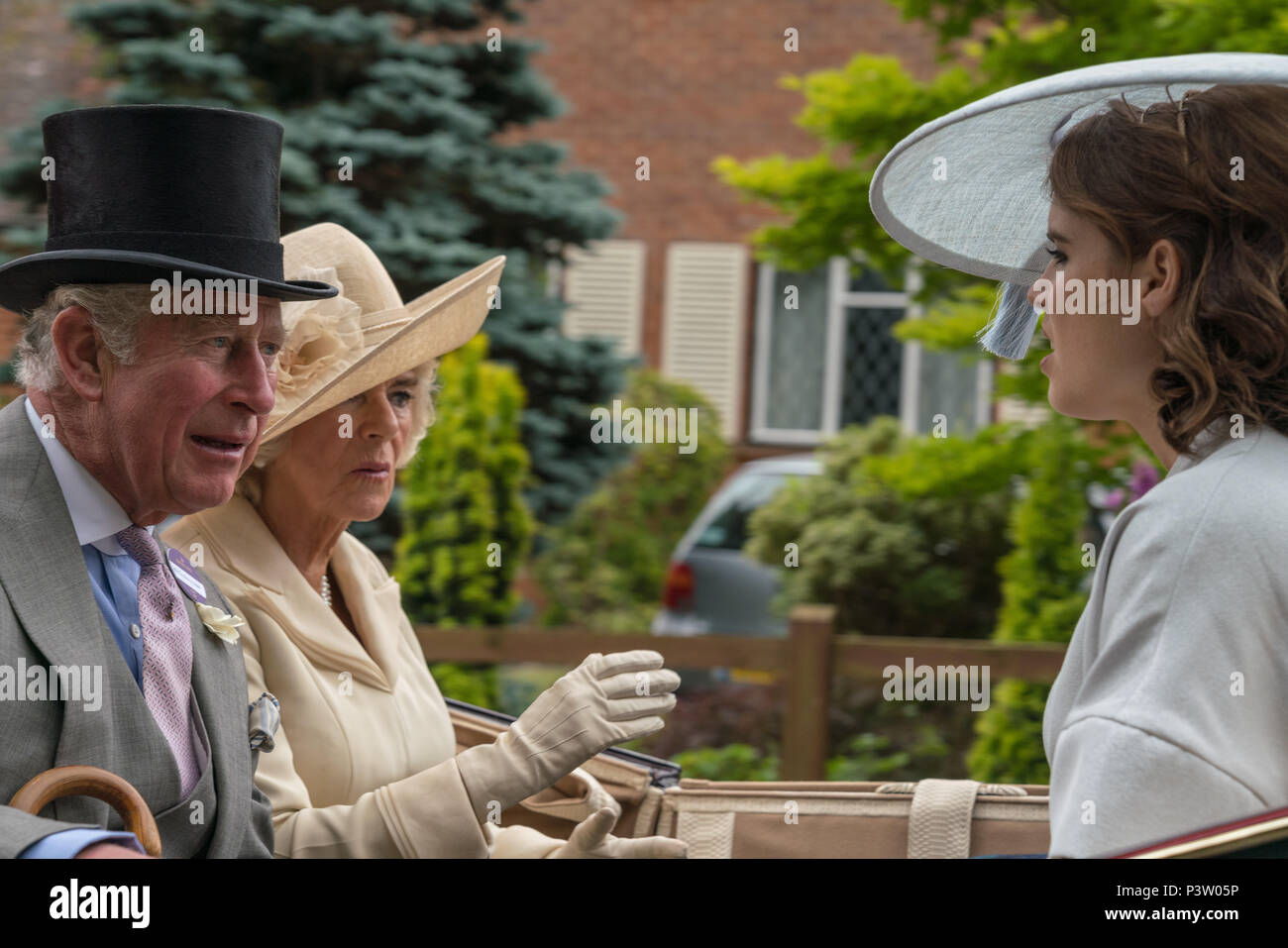 Royal Ascot, Berkshire, UK. 19th Jun, 2018. HRH Prince Charles with Camillia and Eugenie in the Royal Ascot Carriage Procession Credit: Chris Miller/Alamy Live News - Stock Image
