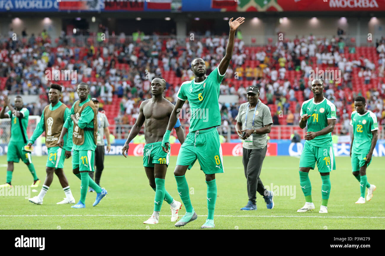 Moscow russia 19th june 2018 players of senegal greet the players of senegal greet the audience after a group h match between poland and senegal at the 2018 fifa world cup in moscow russia june 19 2018 m4hsunfo