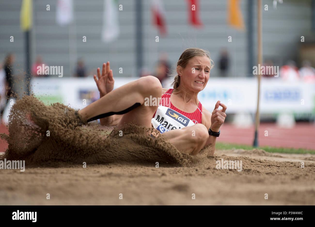 Mareike ARNDT (GER/TSV Bayer 04 Leverkusen) Action, landing. Women's long jump, on 17.06.2018 Athletics Stadtwerke Ratingen All-around meeting, from 16.06. -17.06.2018 in Ratingen/Germany. | usage worldwide - Stock Image