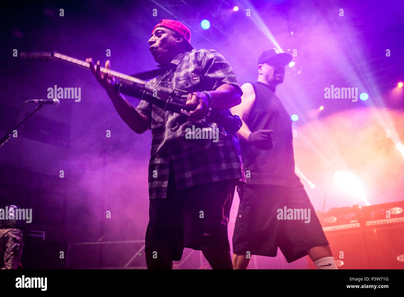 Zagreb, Croatia. 19th Jun, 2018. Body Count, the American heavy metal band, performs a live concert at in Zagreb. Here vocalist and rapper Ice-T is pictured live on stage. Credit: Deyan Baric/Alamy Live News - Stock Image