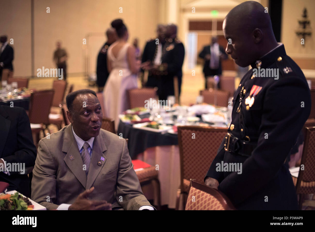 Capt. Nubari Kogbara participates in the Omega Psi Phi Fraternity's 80th Grand Conclave in Las Vegas July 23. This event gave the Marine Corps the opportunity to engage with qualified officer prospects and key influencers. - Stock Image
