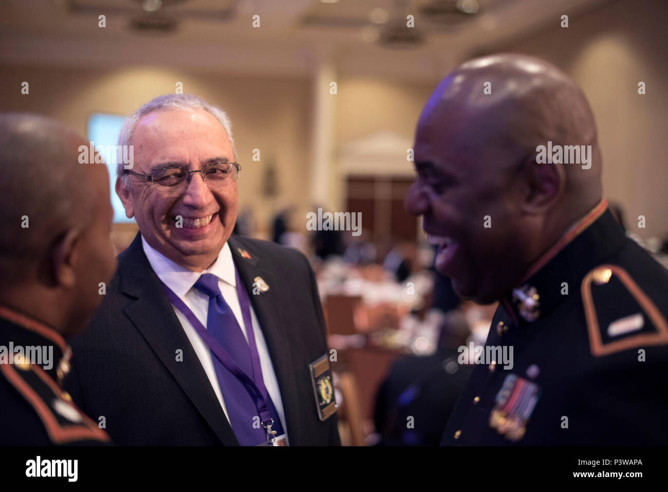 Marines participate in the Omega Psi Phi Fraternity's 80th Grand Conclave in Las Vegas July 23. This event gave the Marine Corps the opportunity to engage with qualified officer prospects and key influencers. - Stock Image