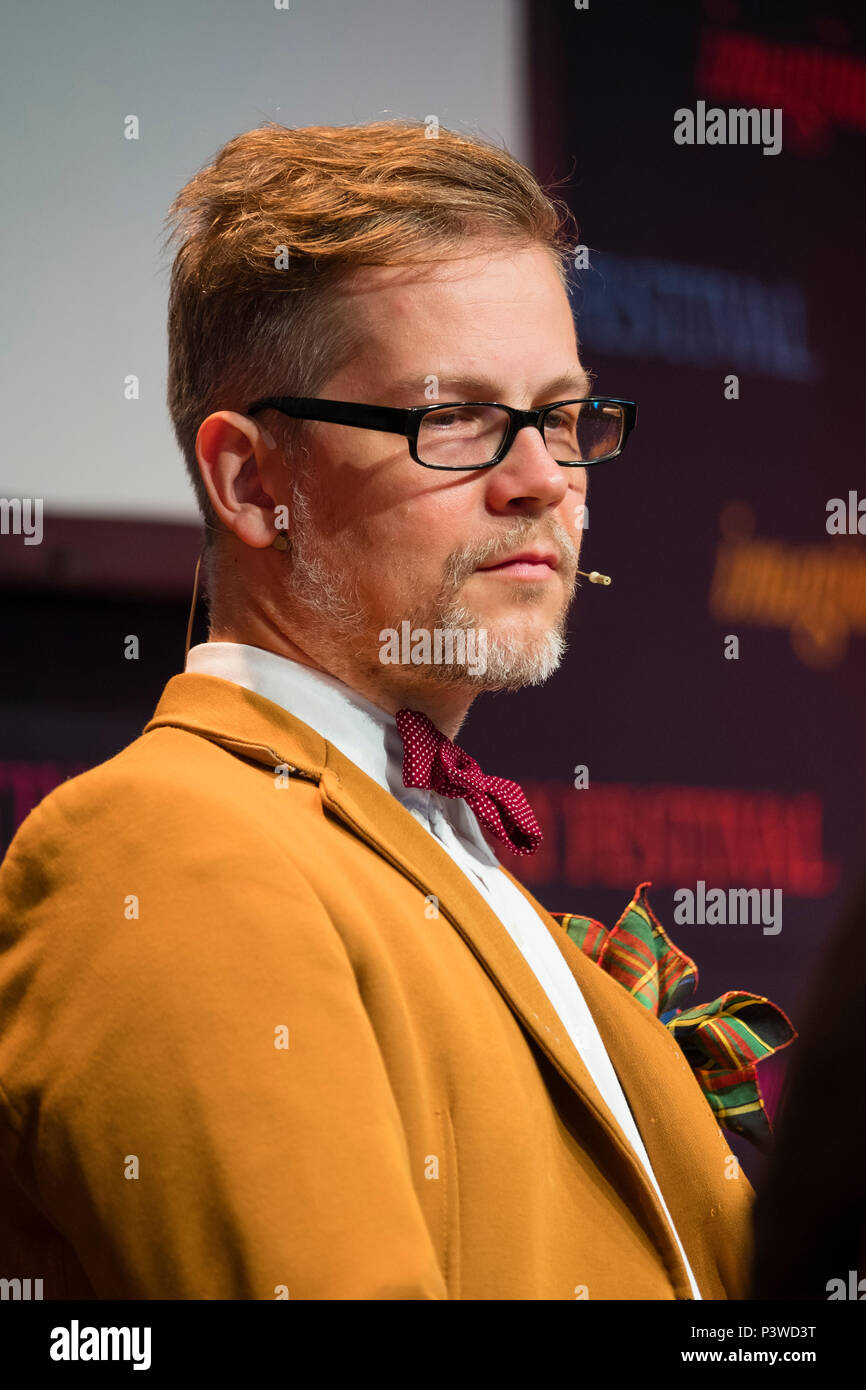 Jacek Dehnel,   Polish poet, writer, translator and painter, pictured at the 2018 Hay Festival of Literature and the Arts.  The annual festival  in the small town of Hay on Wye on the Welsh borders , attracts  writers and thinkers from across the globe for 10 days of celebrations of the best of the written word, political though  and literary debate Stock Photo