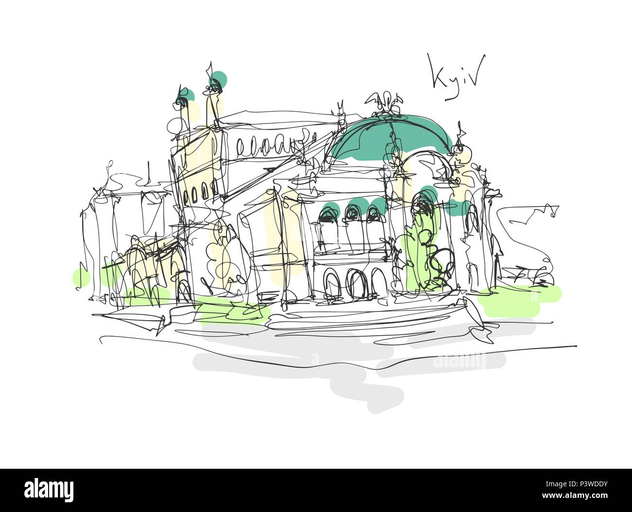 digital minimalistic sketch drawing of Opera and Ballet Theater - Stock Vector