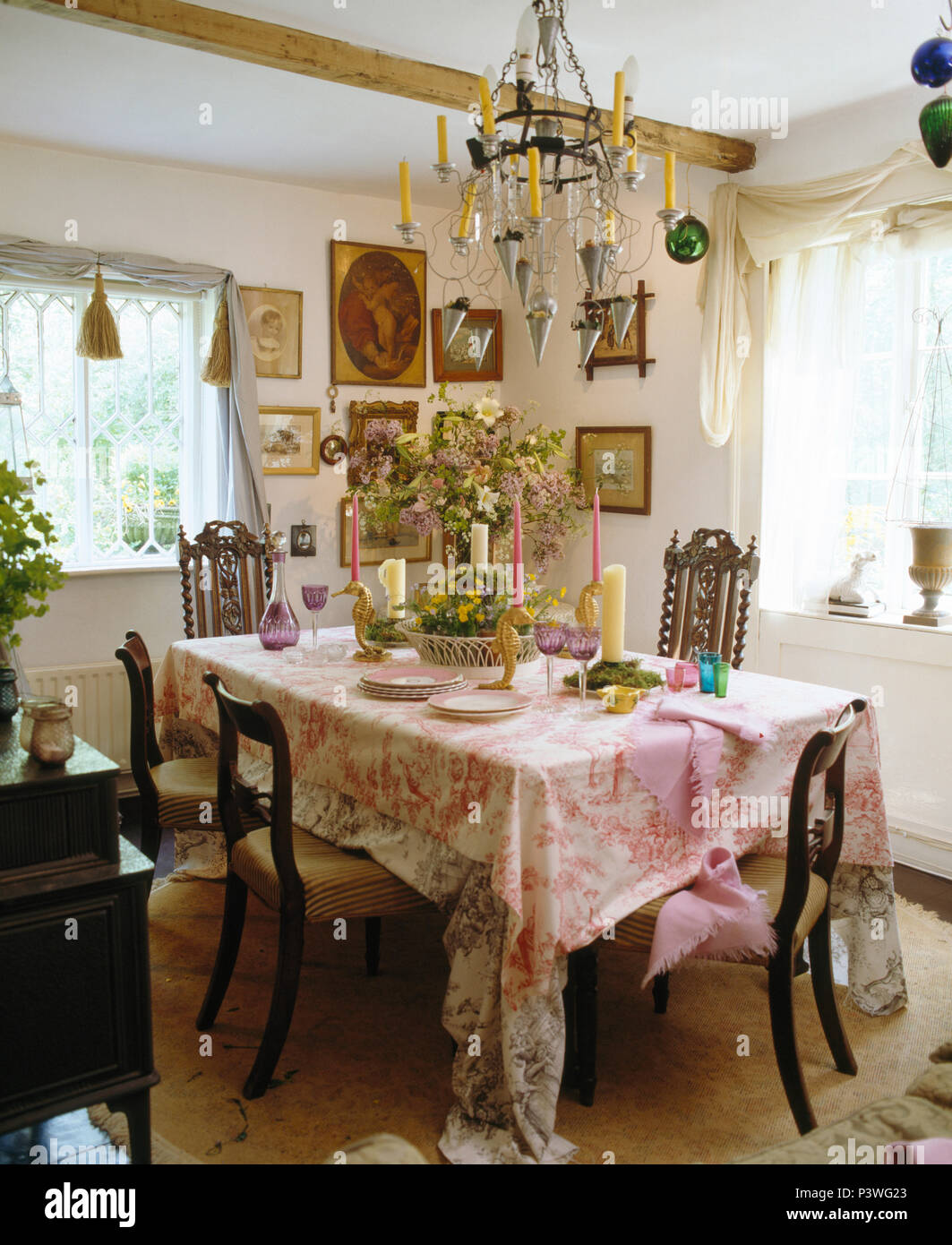 Miraculous Candle Chandelier Above Table With Pink Toile De Jouy Cloth Interior Design Ideas Tzicisoteloinfo