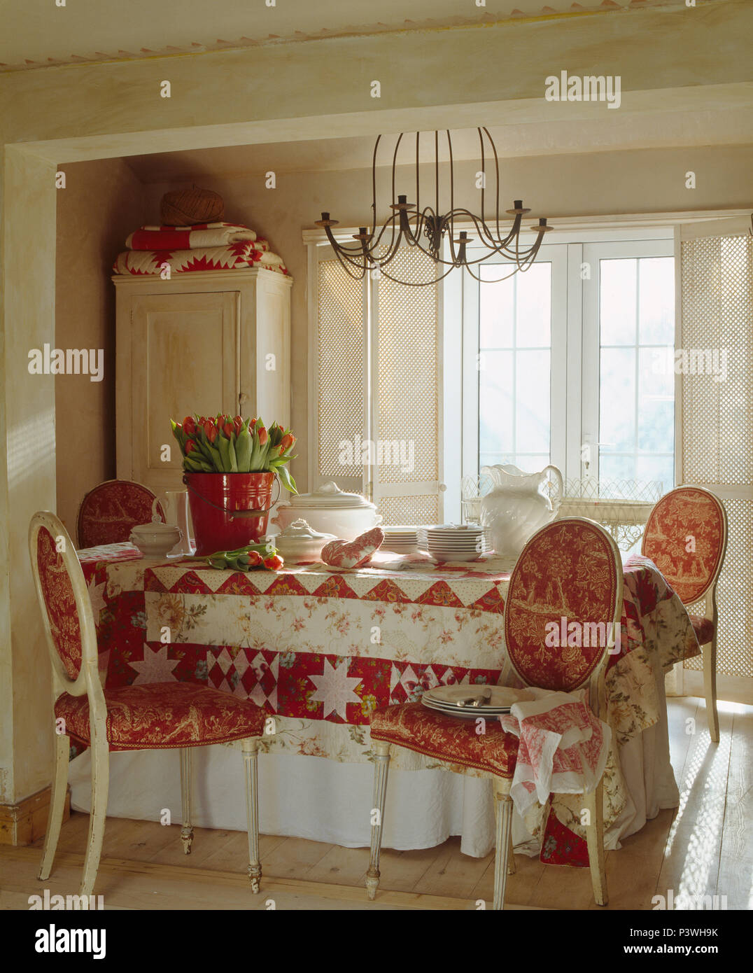 Super Red White Toile De Jouy Upholstered French Style Chairs At Pabps2019 Chair Design Images Pabps2019Com