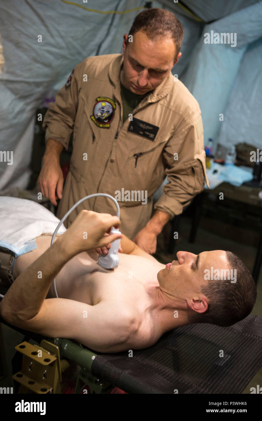 U.S. Navy Lt. Cmdr. Robert Oldt, an emergency physician explains proper positioning for identifying the heart on a patient using the Focused Assessment with Sonogram in Trauma exam to Lt. Oscar Kizhner, a flight surgeon, July 21, 2016. Special Purpose Marine Air-Ground Task Force-Crisis Response-Africa medical personnel conducted FAST exams using a medical tent, or Shock Trauma Platoon, containing a surgical suite, called a Forward Resuscitative Surgical System, which makes it possible for forward deployed doctors to perform lifesaving surgical procedures in the event of a crisis. (U.S. Marine Stock Photo