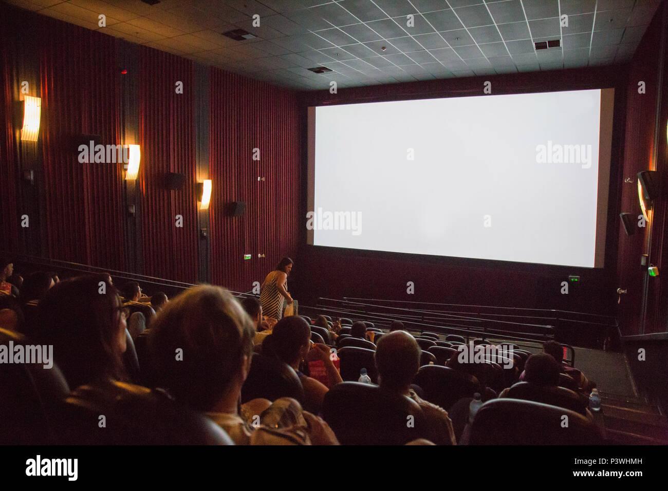 SÃO PAULO, SP - 16.04.2016: PESSOAS SENTADAS NO CINEMA – Na foto feita neste sábado (16), pessoas assistindo filme dentro de um cinema. (Foto: Jales Valquer / Fotoarena) Stock Photo