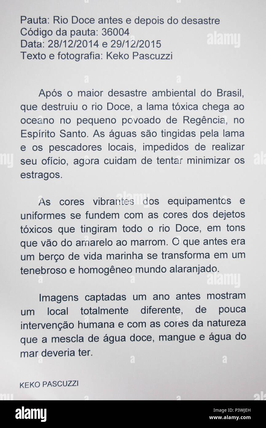 LINHARES, ES - 29 12 2015: DESASTRE NO RIO DOCE - Texto