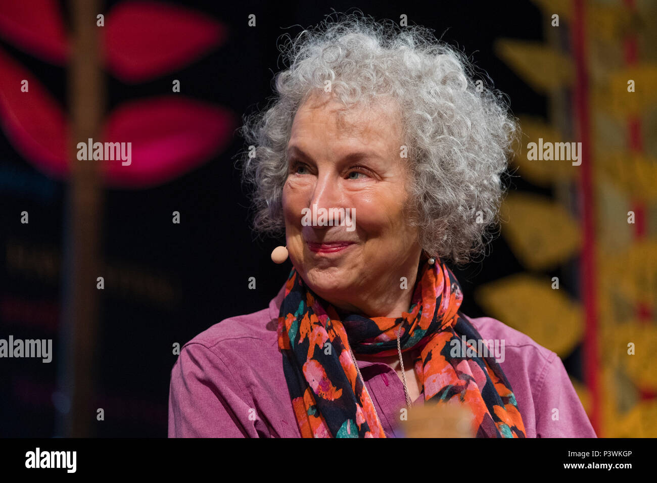 Margaret Atwood, acclaimed Canadian poet, novelist, literary critic, essayist, inventor, teacher and environmental activist,  appearing at the 2018 Hay Festival of Literature and the Arts.  The annual festival  in the small town of Hay on Wye on the Welsh borders , attracts  writers and thinkers from across the globe for 10 days of celebrations of the best of the written word, political though  and literary debate - Stock Image