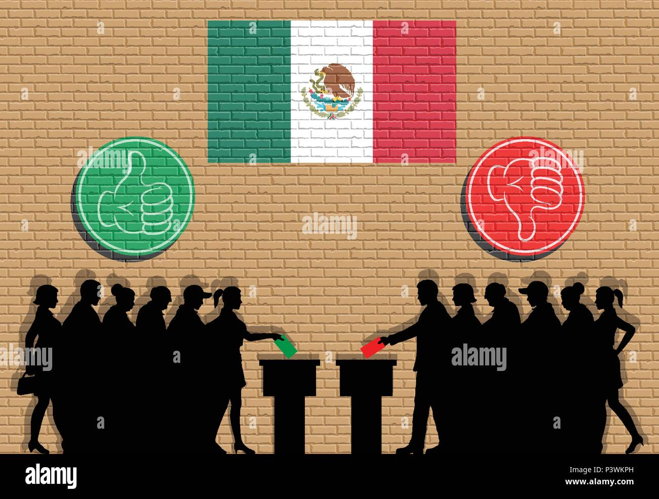 Mexican voters crowd silhouette in election with thumb icons and Mexico flag graffiti. All the silhouette objects, icons and background are in differe - Stock Image