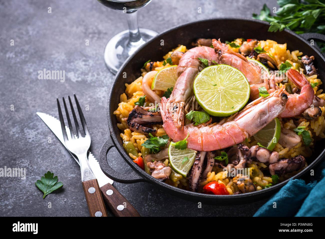 Seafood paella. Traditional spanish dish, european cuisine Stock Photo