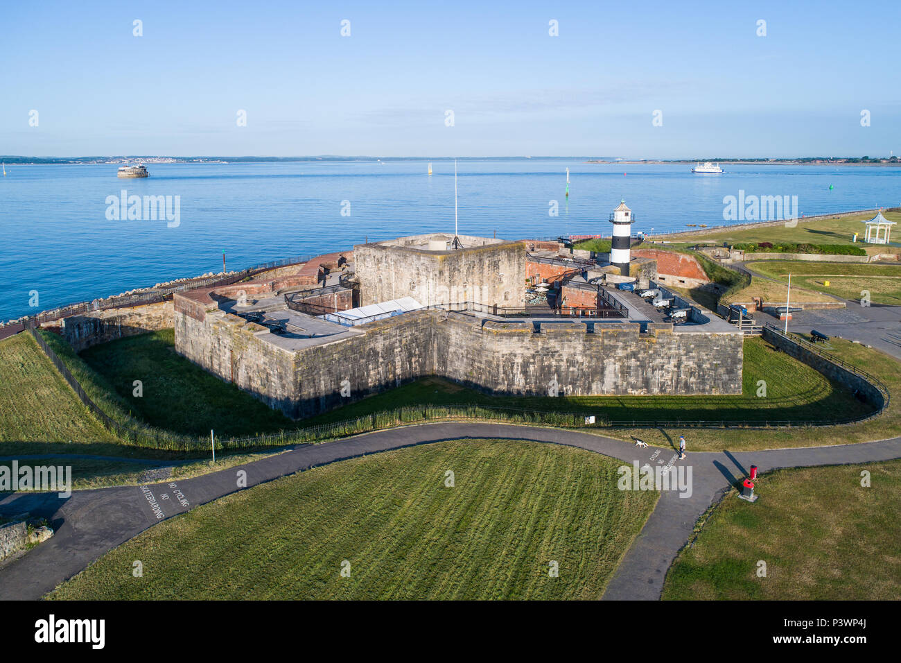 Southsea Castle, Pier and Seafront. - Stock Image