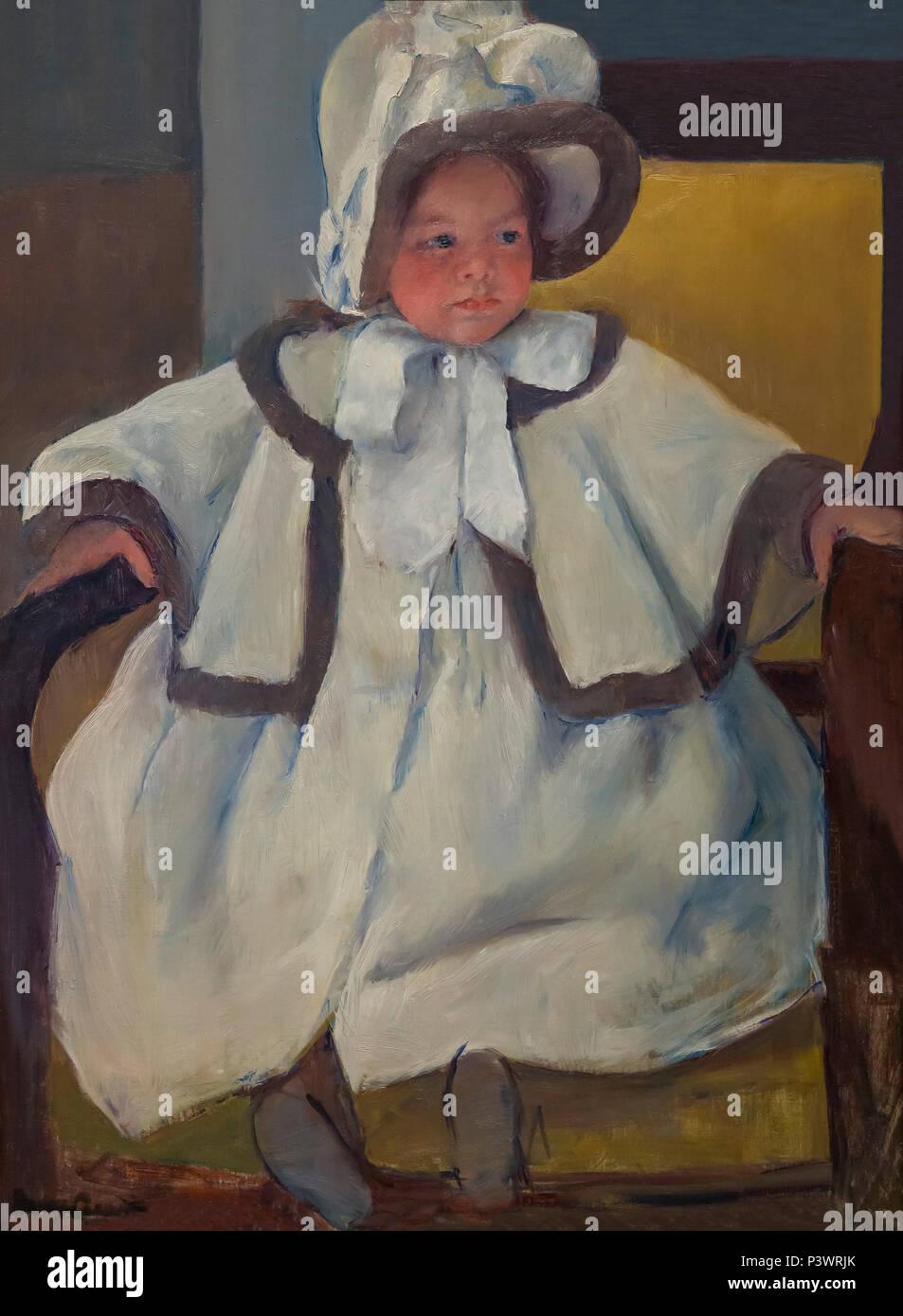 Ellen Mary in a White Coat, Mary Stevenson Cassatt, circa 1896, Museum of Fine Arts, Boston, Mass, USA, North America - Stock Image