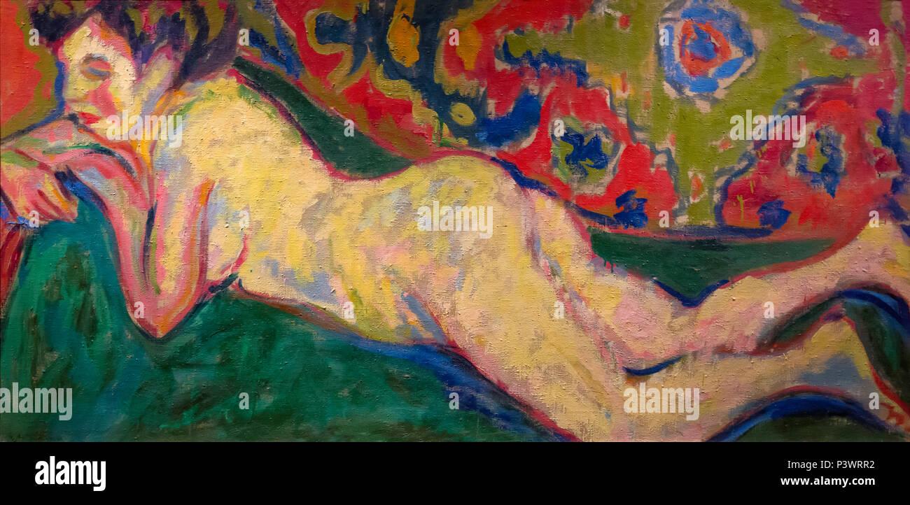 Reclining Nude, Ernst Ludwig Kirchner, 1909, Museum of Fine Arts, Boston, Mass, USA, North America - Stock Image