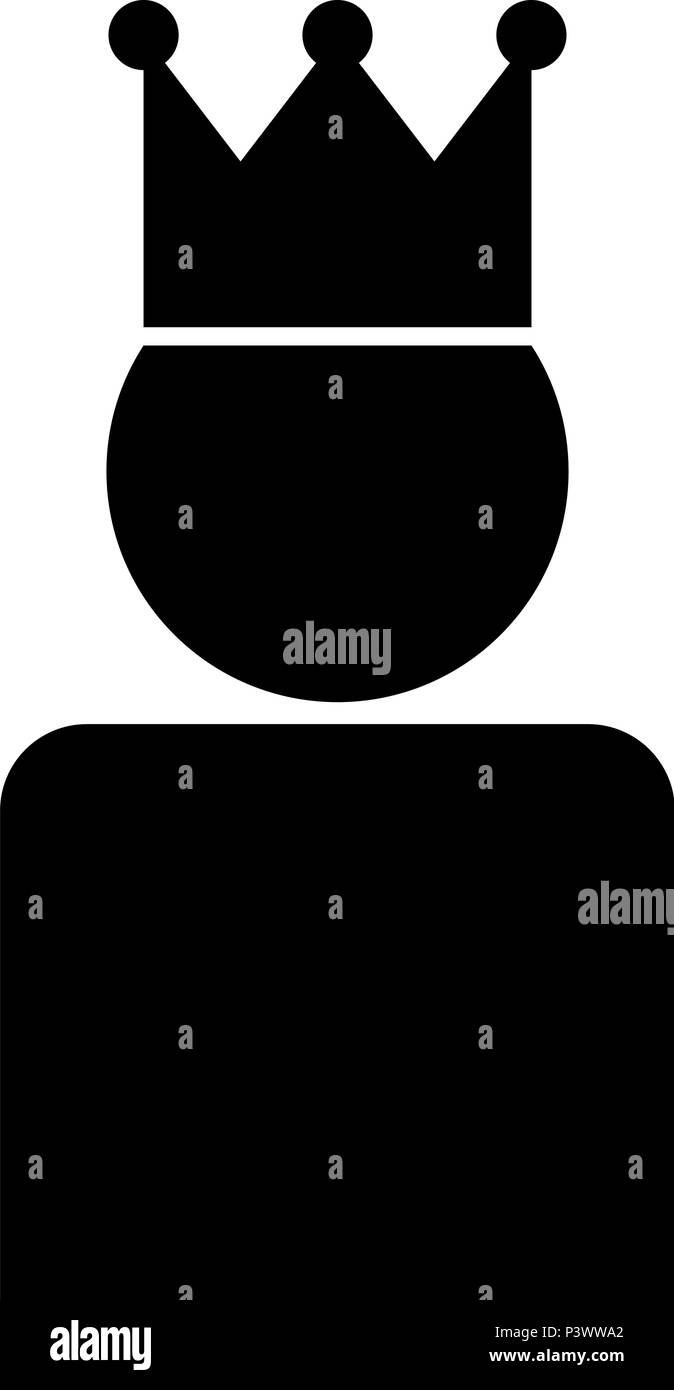 King in crown icon black color vector I flat style simple image - Stock Vector