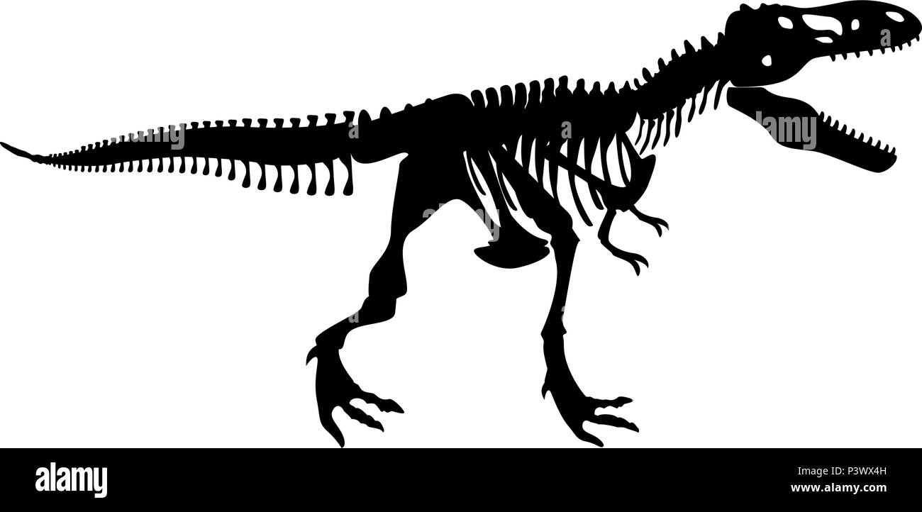 Dinosaur skeleton T rex icon black color vector I flat style simple image - Stock Image