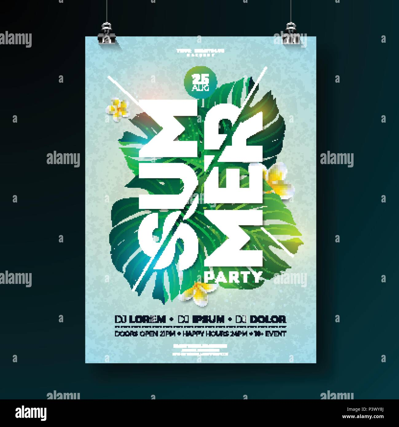 vector summer beach party flyer design with flower and tropical