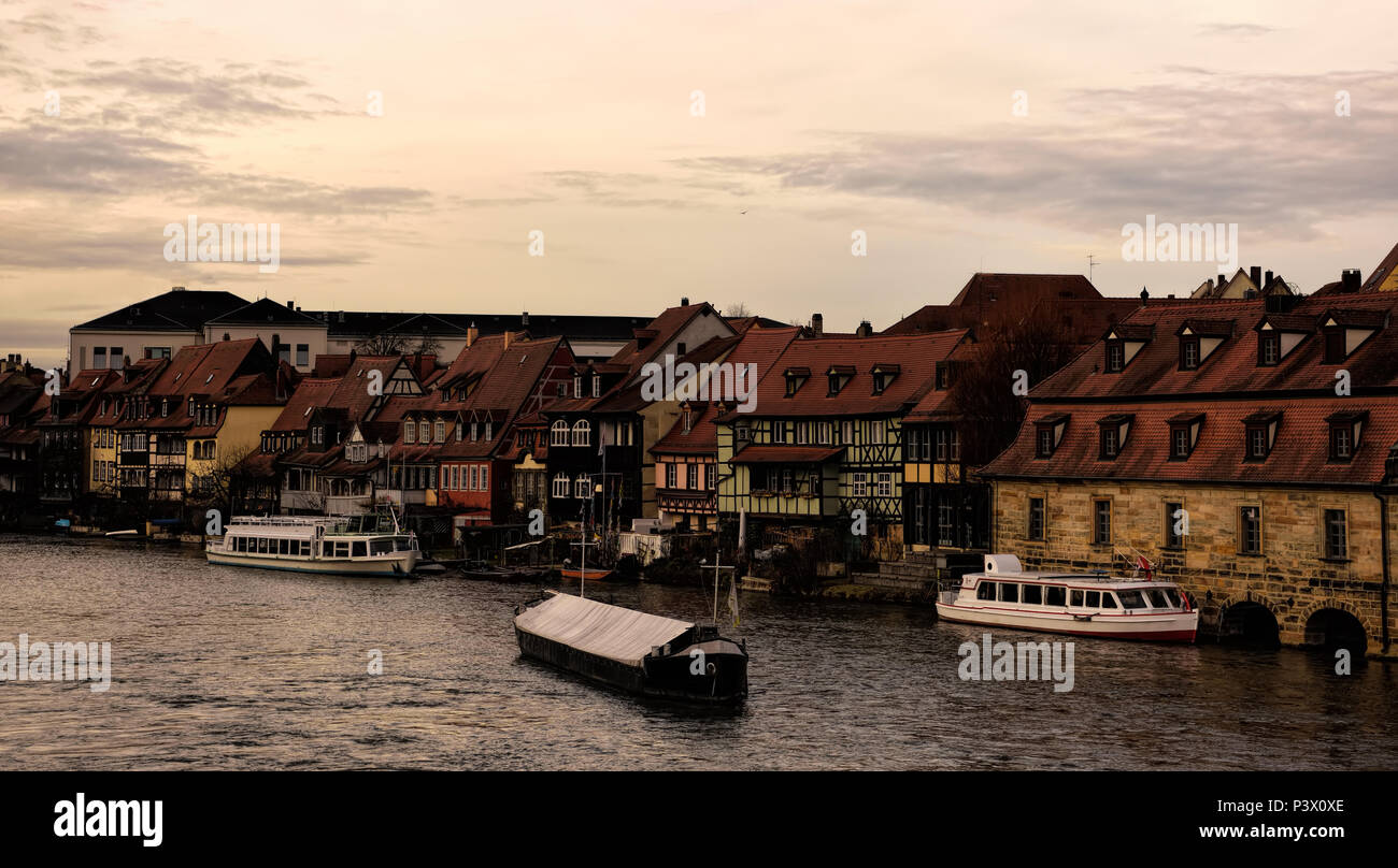 View of the charming town of Bamberg along the river. - Stock Image