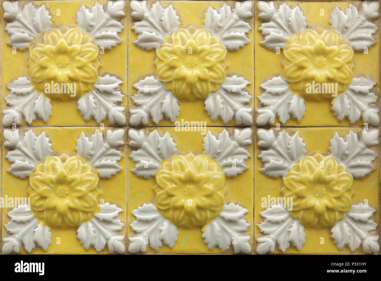 Exterior: Decorated With Tiles With Flowers Stock Photos & Decorated