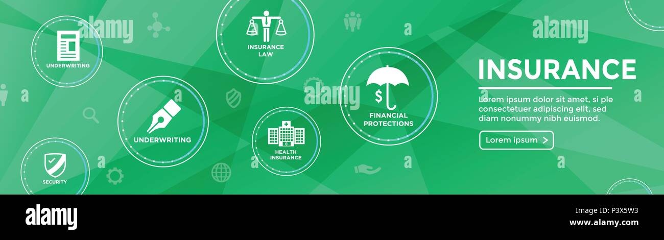 Insurance Web Header Banner - Covers homeowners, medical, life, & vehicle insurance - Stock Image