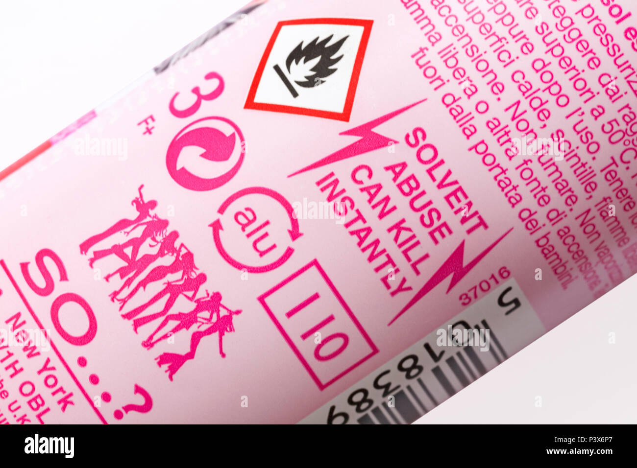 Solvent Abuse Can Kill Instantly And Flammable Symbol On Can Stock