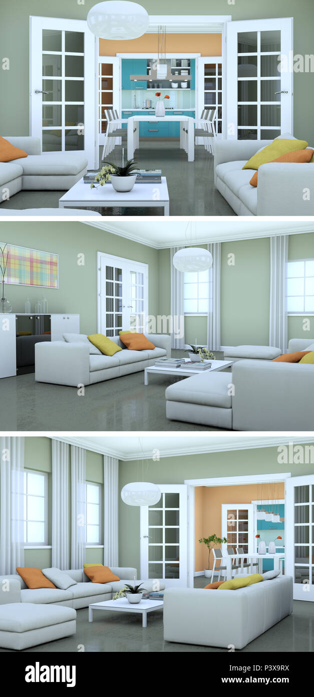 Three views of modern interior loft design with sofas 3d Rendering Stock Photo