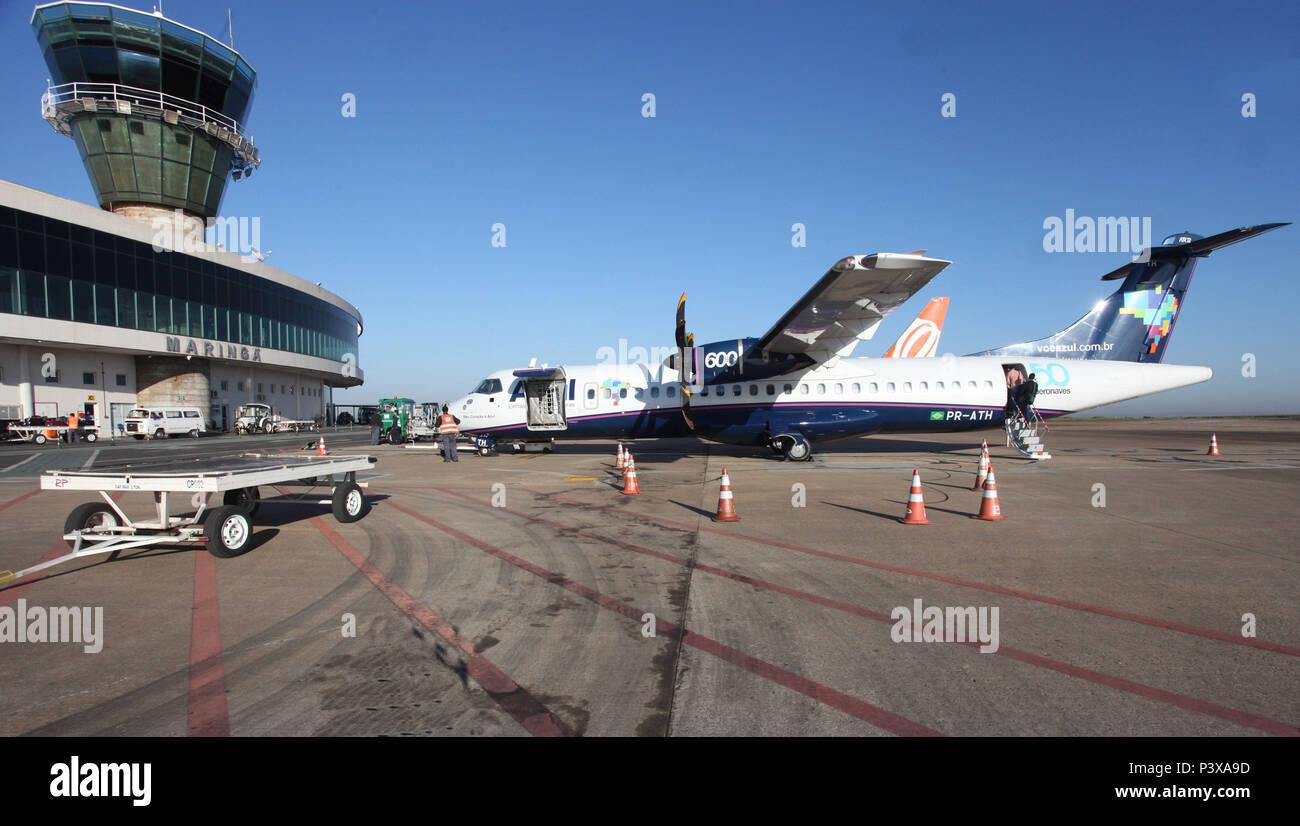 Vista do Aeroporto Silvio Name Júnior, em Maringá, na Região Centro-Oeste do Paraná. A sua construção teve início em Outubro de 1994 e foi concluída em Julho de 2000. Em maio de 2012, o aeroporto foi elevado para categoria sete e tornou-se um dos quatro do Sul do Brasil aptos a receber cargas internacionais com regularidade. - Stock Image