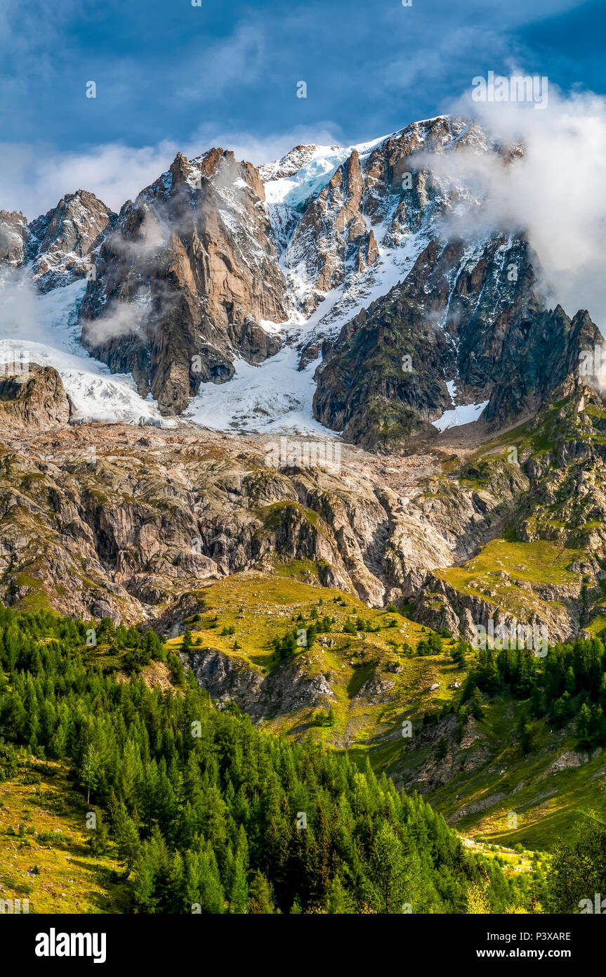 Summer view of Mont Blanc - Monte Bianco from the italian side, Courmayeur,  Aosta Valley, Italy - Stock Image