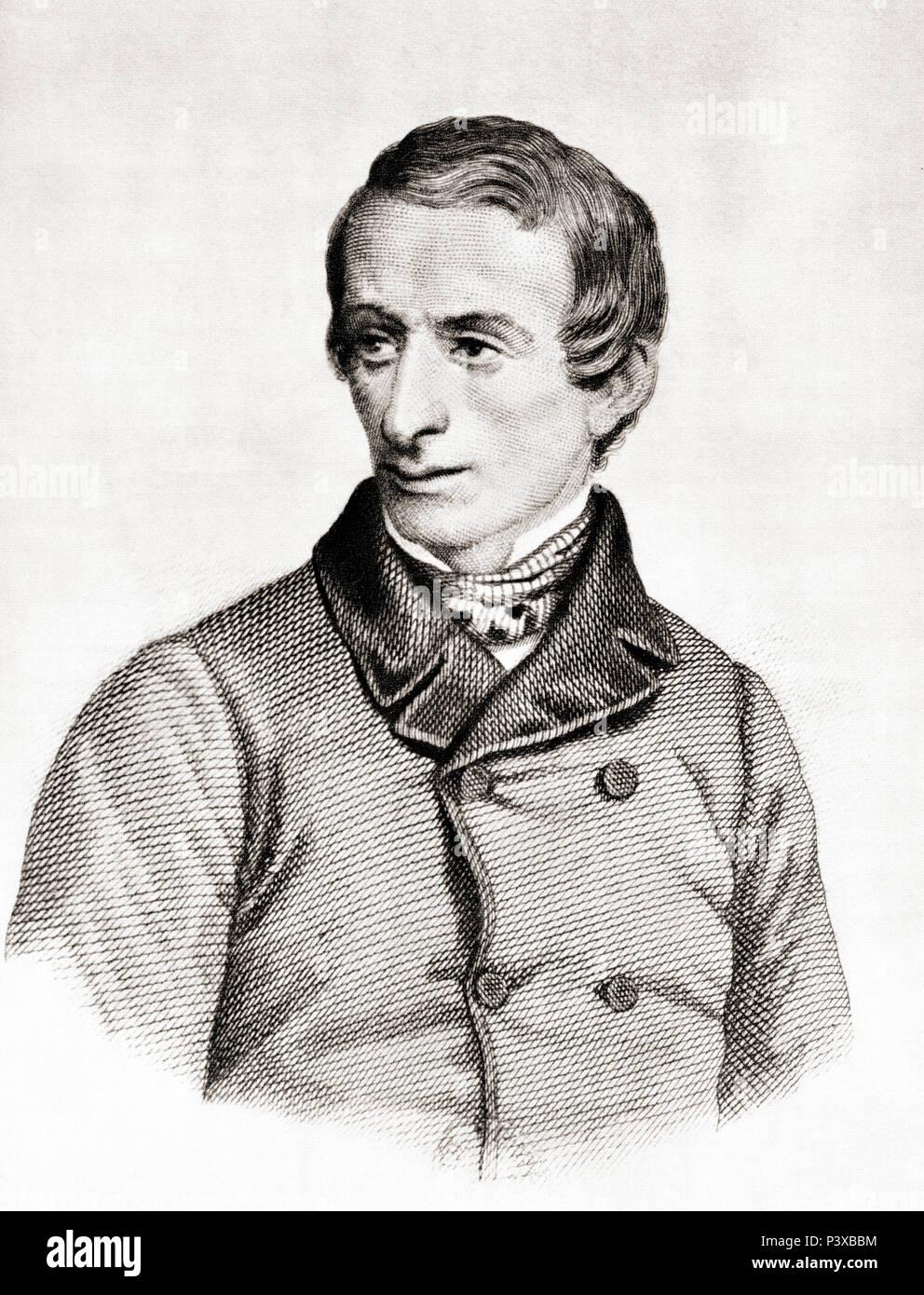 Giacomo Taldegardo Francesco di Sales Saverio Pietro Leopardi, 1798 – 1837.  Italian philosopher, poet, essayist and philologist. After a contemporary print. - Stock Image