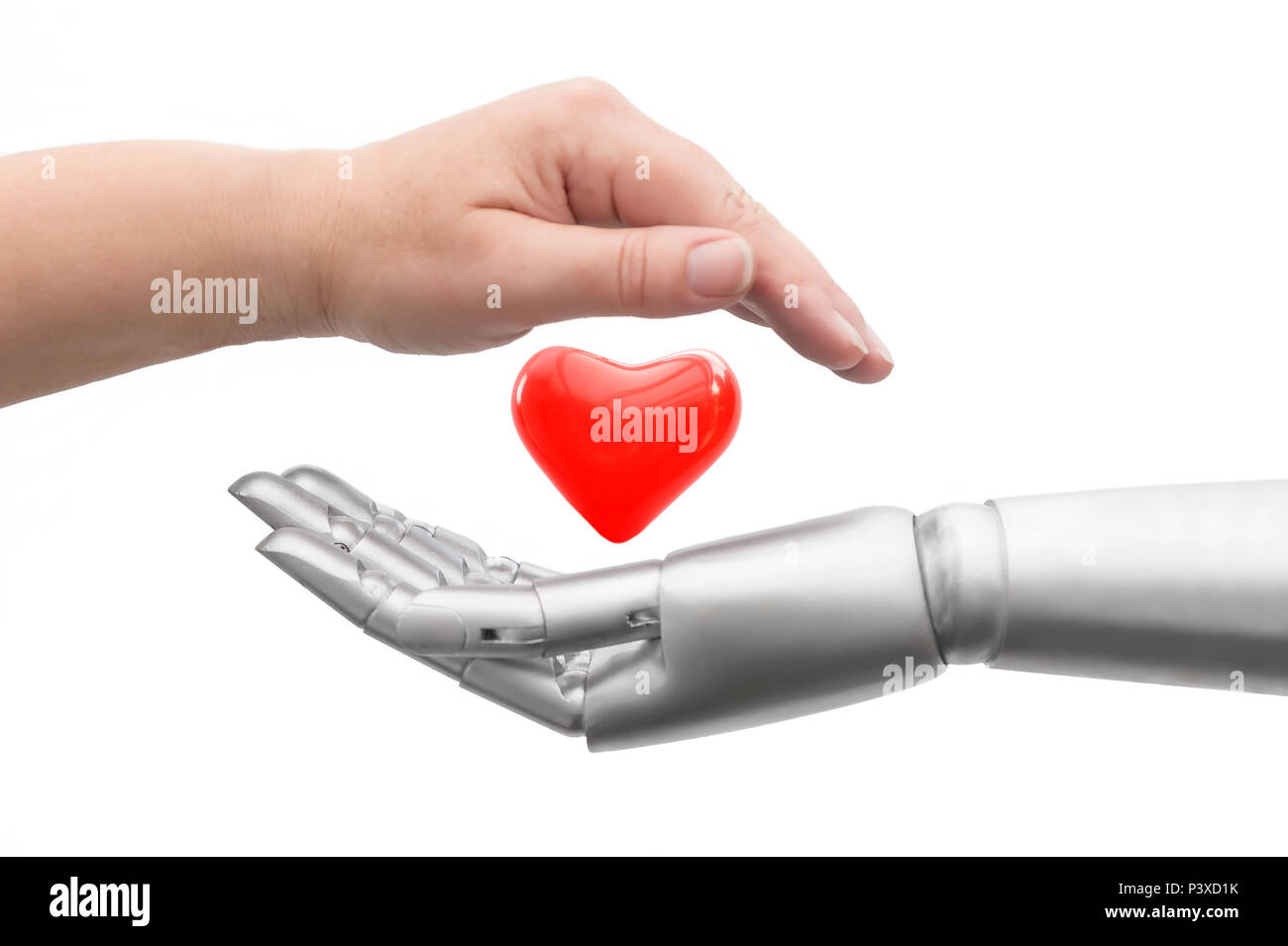 Conceptual photo of how life is protected. A robot hand and a human hand protectively surround a heart. Isolated in front of white background. Stock Photo