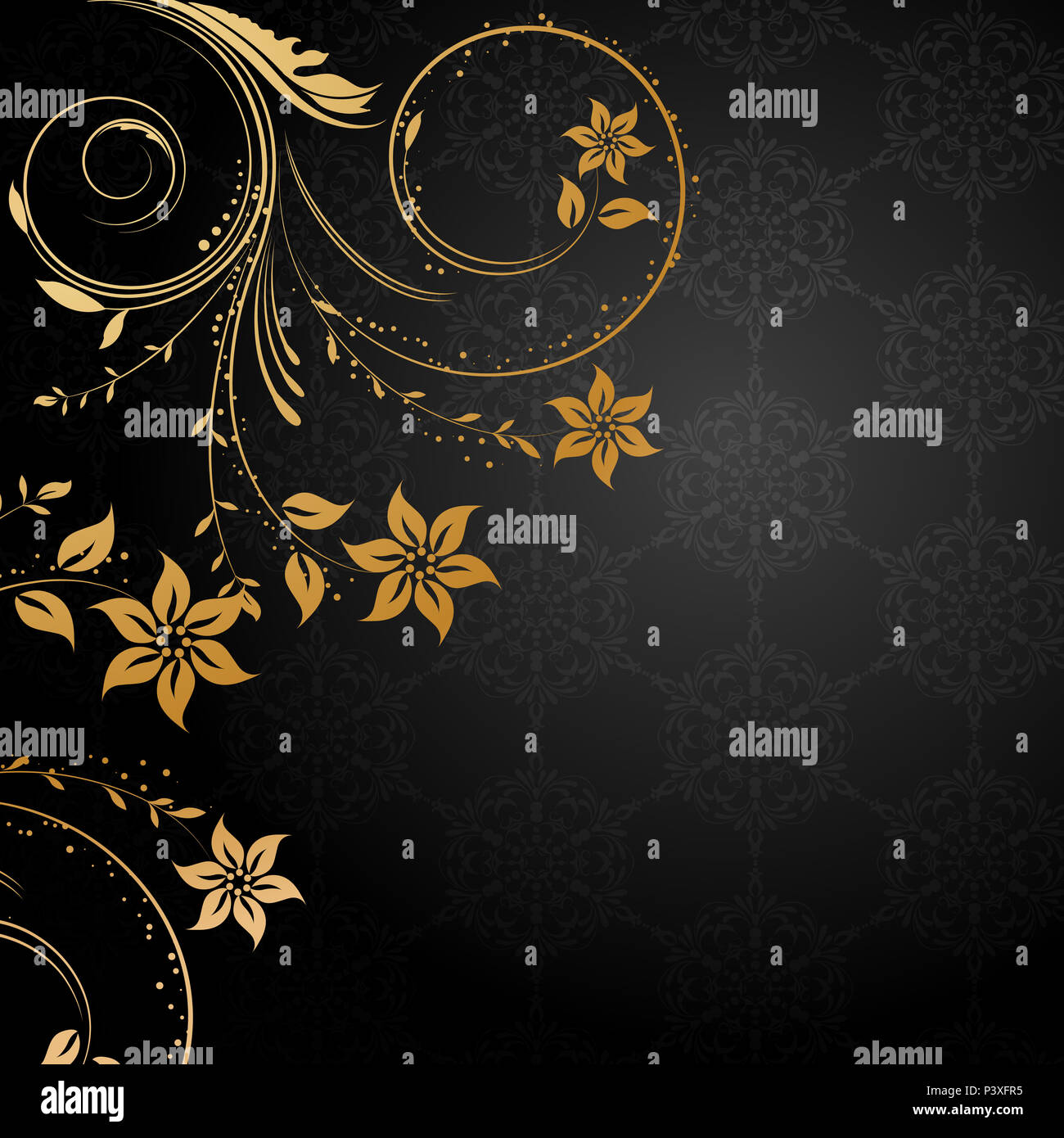Decorative Floral Background With Gold Design Elements On Black
