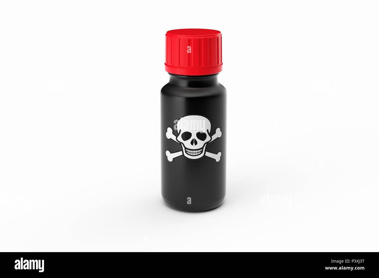 Medicine glass bottle isolated with scull label Illustration - Stock Image