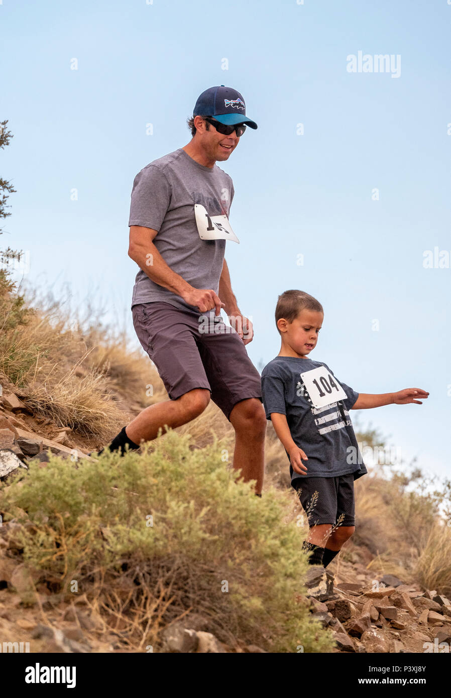 Athletes compete in a foot race and climb up 'S' Mountain (Tenderfoot Mountain) during the annual Fibark Festival; Salida; Colorado; USA - Stock Image