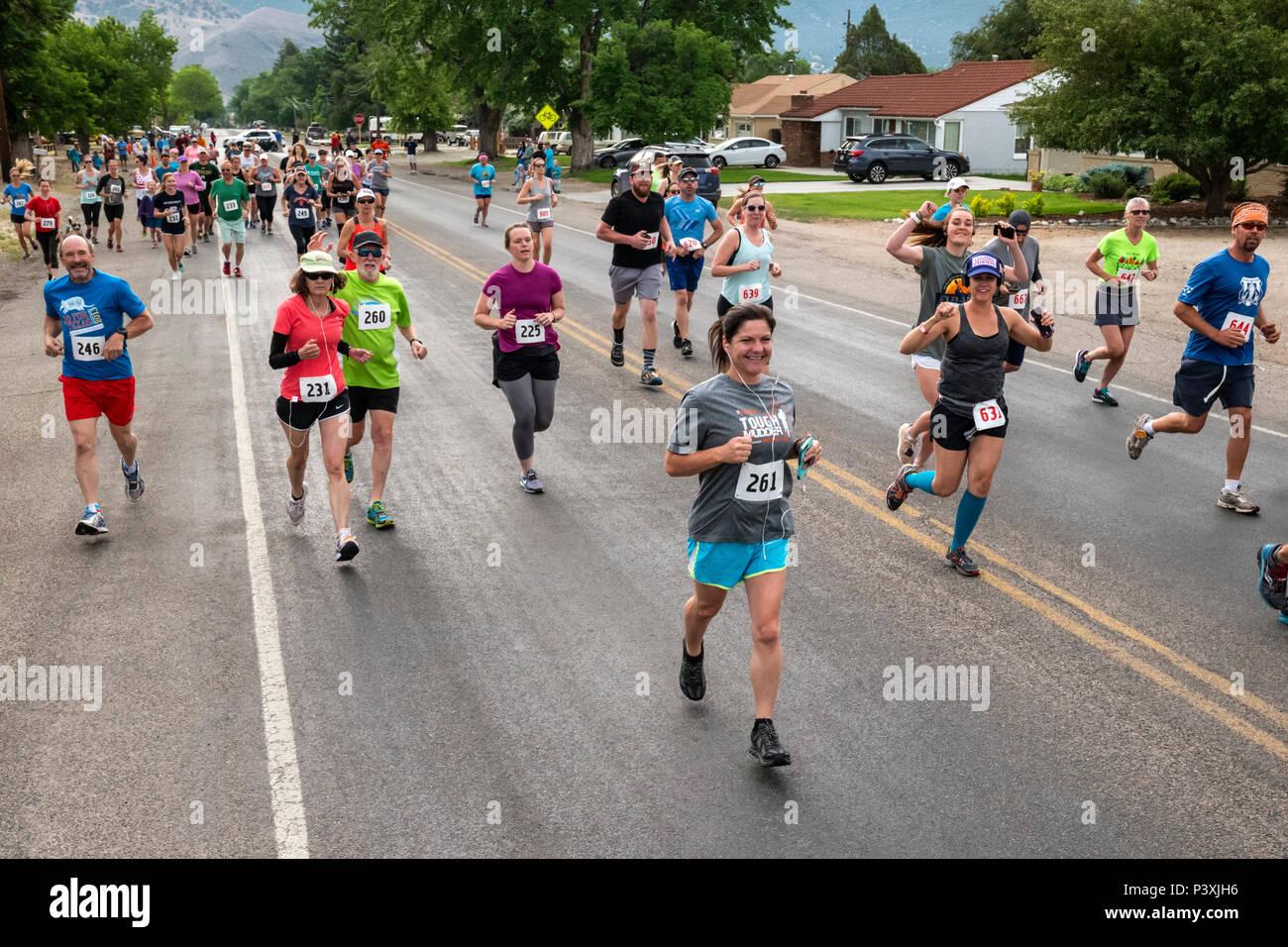 Runners in 5K & 10K foot races; annual Fibark festival; Salida; Colorado; USA - Stock Image