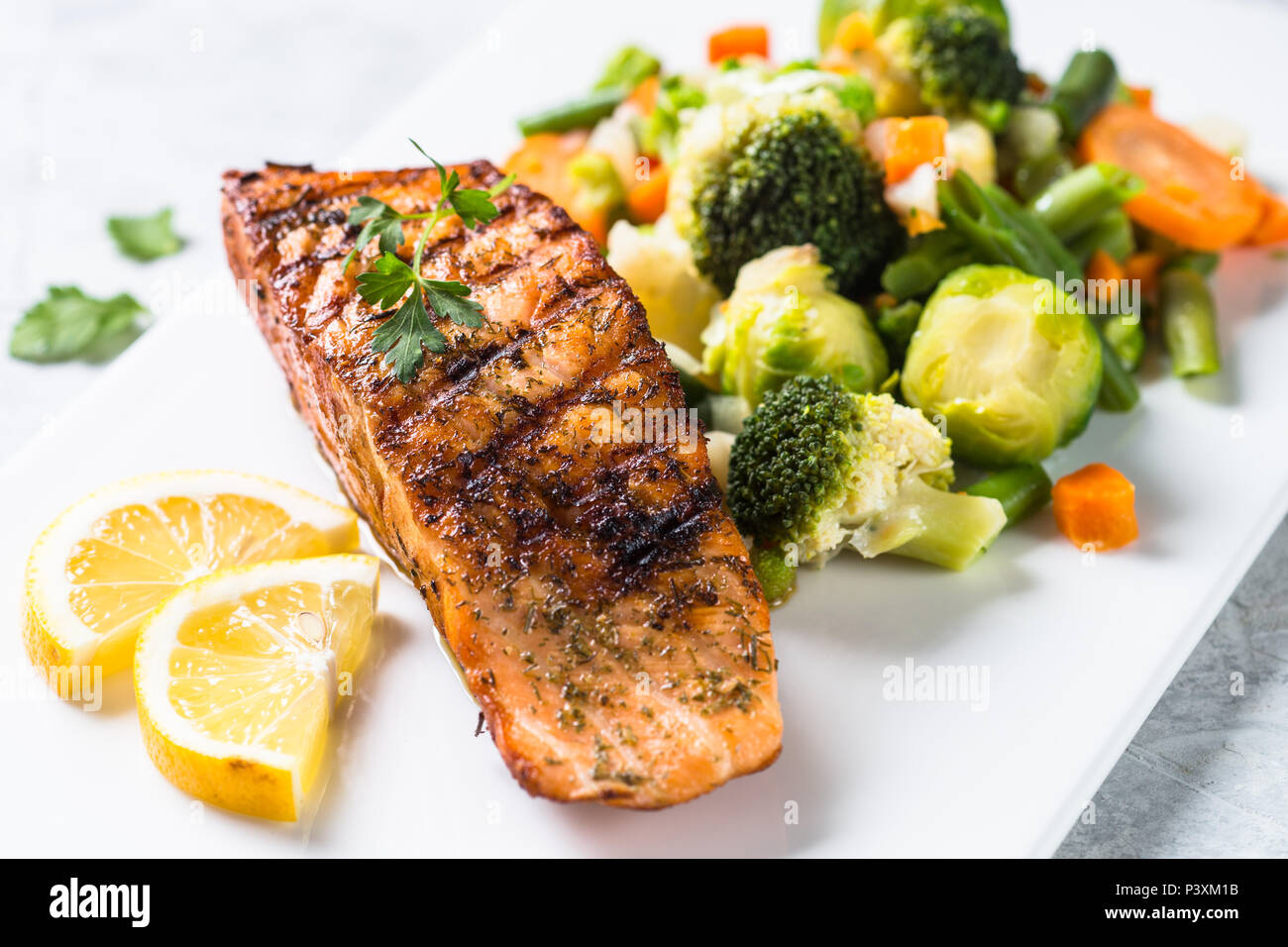 Fish And Vegetables Menu Grilled Salmon Fish Fillet With Vegetables