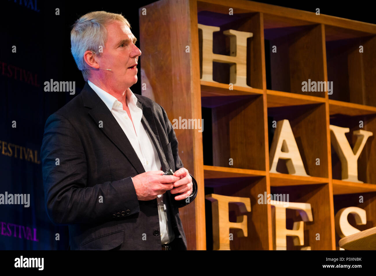Sir Nigel Richard Shadbolt FRS FREng CITP CEng FBCS CPsychol Principal of Jesus College, Oxford, and Professorial Research Fellow in the Department of Computer Science, University of Oxford.  Author of 'The Digital Ape' . Pictured speaking at the 2018 Hay Festival of Literature and the Arts.  The annual festival  in the small town of Hay on Wye on the Welsh borders , attracts  writers and thinkers from across the globe for 10 days of celebrations of the best of the written word, political though  and literary debate - Stock Image